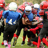 Leominster's Makai Newton carries the ball during a sixth-grade American Youth Football game at Nikitas Field in Fitchburg on Sunday, Oct. 16, 2016. Fitchburg won the contest, 25-0. SENTINEL & ENTERPRISE / SCOTT LAPRADE