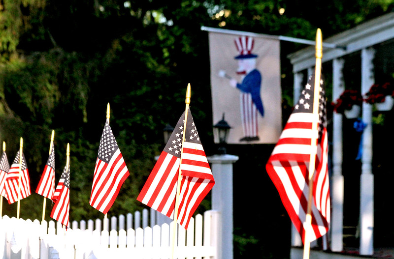 American Flag display on this house on Main Street in Townsend Harbor. SUN/David H.Brow
