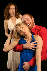 Beth Wilmurt, Jody Flader, and Jud Williford in Mark Jackson's AMERICAN $UICIDE.  Photo by Mark Leialoha.