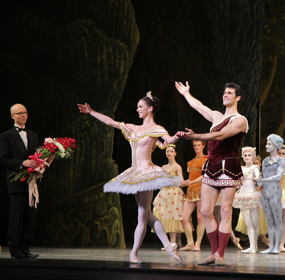 "Polina Semionova and Roberto Bolle, Sylvia, June 28, 2013  Frederick Ashton of The Royal Ballet created the ballet in 1952 as a star vehicle for Margot Fonteyn and was performed until 1965. Léo Delibes' score is beautiful, a masterpiece of 19th-century ballet music. Tchaikovsky was so impressed with it that he once observed: ""Had I known Sylvia existed, I would not have dared compose Swan Lake!""   A problem arose when The Royal Ballet and ABT agreed to co-produce the revival of Sylvia: the choreography was never notated and the only record was a poorly lit black and white film. Christopher Newton, ballet master under Ashton who danced Sylvia during the 1950s kept handwritten notes of the choreography and reconstructed the some of the steps from memory. In addition, costume designs were found in The Royal Ballet's archives in a mislabeled box along with paintings and photographic records of the original sets. The World Premier of the revival of Sylvia was given by The Royal Ballet in 2004 while ABT debuted its version in 2005. See the <a href=""http://www.abt.org/sylvia/"">ABT website</a> for more detail.  ABT's star power was on full display in Friday night's Sylvia with Polina Semionova and Roberto Bolle leading the cast. Semionova along with tennis star Novak Djokovic appear in <a href=""http://www.fastretailing.com/eng/group/news/1303191700.html""> UNIQLO AIRism underwear</a> advertisements that appear in New York City subway trains (here is a  <a href=""http://www.youtube.com/watch?v=A-wb1RpfUZg ""> video advertisement</a> featuring Polina). Roberto is one of ballet's biggest stars. He has a huge international following as evidenced by his over 100,000 followers on  <a href=""https://twitter.com/RobertoBolle"">Twitter</a>.   Polina was Sylvia, a very demanding role both dramatically and technically. She is onstage almost throughout the performance with several very tiring solos. Sylvia is difficult dramatically as she must run the gamut of roles: she is a powerful leader of an Amazonian tribe; a woman who morns the loss of Aminta after she shoots him with an arrow; a seductress of Orion in an effort to gain her freedom; and finally a woman who falls in lover with Aminta. Polina danced well, except for a diagonal jumping and pirouette section in Act I that seemed a bit off the music. Her solos were beautiful, taking full advantage of her long flowing arms.   Bolle was the Aminta the shepherd, who is in love with Sylvia. Roberto was strong and steady throughout, his solos were rock solid without waiver. Technically, he had a nice saute de basque section and had a very nice triple pirouette which finished in releve, pausing a few seconds for effect. His partnering skills are remarkable, showering attention on his beloved Sylvia. Polina and Roberto connected well, particularly when he removes Sylvia's veil, revealing his true love as he is overcome with emotion. Polina and Roberto make a nice pair, dancing in unison with feeling. Several jumping fish dives were done well and drew applause.  I also noted the corps dancing in Act I of the woodland creatures, an Amazonian tribe dancing in celebration of their hunt. This is a dance of female empowerment with tribe members dancing with bows and arrows: ""Don't mess with us! We rule the forest!"" The dancers were in synch in the fouetté section; not an easy task given they are performing the step with a bow in one hand. Also, the lighting in the first set is beautiful, simulating a blue moonlit night that provides illumination for the dancing.  Jared Matthews is Orion, the evil hunter. I have seen Jared perform several times this year and this performance continues his hot streak as he is having a very good season. His two pas de deux with Polina were appropriately awkward and tense as Sylvia is trying to escape."