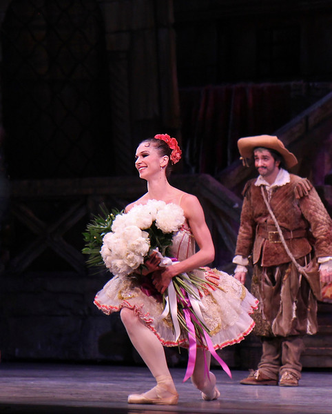 "Polina Semionova, Don Quixote, May 17, 2014<br /> <br /> Polina Semionova was stunning as Kitri in Don Quixote Saturday night. If there is a better Kitri in the world today, I would like to see it. She was in control throughout the evening, making the difficult and physically demanding role look easy. Standout technical parts include:<br /> <br /> • Endless balances in the Grand Pas de Deux that drew gasps from the crowd. Conductor Ormsby Wilkins had to extend the music, waiting for her to conclude her balance. WOW!!!<br /> <br /> • A nice fouetté section in her final solo that alternated single and double pirouettes with one hand on her hip and other hand overhead on the double. The sequence started out with a quadruple pirouette. It takes a lot of guts to start out a difficult turn sequence with four pirouettes. Usually smaller dancers are better turners, but Polina, at 5'9 inches tall, defies that observation.<br /> <br /> • A scooting rond de jamb diagonal in the second act with nice flowing arms.<br /> <br /> Polina'a technical achievements reinforced rather than detracted from the story line of the ballet; she was always expressive and in character (at times reminding me of former ABT Principal Dancer Irina Dvorovenko) covering a wide range of emotions from defiance of the dolt Gamache and her father, flirting with Basilio (Marcelo Gomes), disapproval of Basilo's staying eyes, and the ultimate joy of capturing Basilio's love.<br /> <br /> Marcelo is a great partner and he showered his attention on Polina (except when he was flirting with the village girls). He added nice touches such as ""dizzy drunk"" pirouettes after imbibing wine offered from a villager and shaking hands with Don Quixote during his solo before starting his coupe jeté section.<br /> <br /> The Grand Pas de Deux was stellar with no rough edges. At times, Marcelo used only one hand to support her turns. Why use two hands when one will do? Marcelo was under pressure after Polina's fouetté section; she confidently turned to him as if to say ""Can you beat that?"" He came through with steady a la seconde turns punctuated with a triple pirouette.<br /> <br /> I need to get out more in the ballet world; I look forward to seeing the Bolshoi and Mikhailovsky Ballet perform Don Quixote in New York later in the year and wonder how anybody can top Polina's performance.<br /> <br /> I enjoyed Hee Seo as Mercedes and Jared Matthews as Espada. Jared, who unfortunately is leaving ABT at the end of the season for Houston Ballet, was a dynamic matador, aggressively spinning his cape on the floor on his entrance. I liked his giant assemble's in his second act solo, which seemed to cover half the stage."