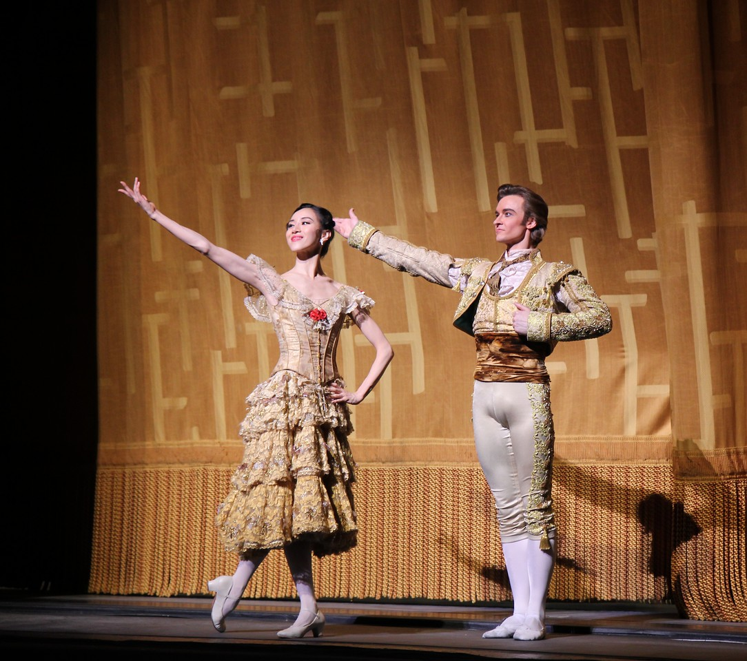 """Hee Seo and Jared Matthews, Don Quixote, May 17, 2014<br /> <br /> Polina Semionova was stunning as Kitri in Don Quixote Saturday night. If there is a better Kitri in the world today, I would like to see it. She was in control throughout the evening, making the difficult and physically demanding role look easy. Standout technical parts include:<br /> <br /> • Endless balances in the Grand Pas de Deux that drew gasps from the crowd. Conductor Ormsby Wilkins had to extend the music, waiting for her to conclude her balance. WOW!!!<br /> <br /> • A nice fouetté section in her final solo that alternated single and double pirouettes with one hand on her hip and other hand overhead on the double. The sequence started out with a quadruple pirouette. It takes a lot of guts to start out a difficult turn sequence with four pirouettes. Usually smaller dancers are better turners, but Polina, at 5'9 inches tall, defies that observation.<br /> <br /> • A scooting rond de jamb diagonal in the second act with nice flowing arms.<br /> <br /> Polina'a technical achievements reinforced rather than detracted from the story line of the ballet; she was always expressive and in character (at times reminding me of former ABT Principal Dancer Irina Dvorovenko) covering a wide range of emotions from defiance of the dolt Gamache and her father, flirting with Basilio (Marcelo Gomes), disapproval of Basilo's staying eyes, and the ultimate joy of capturing Basilio's love.<br /> <br /> Marcelo is a great partner and he showered his attention on Polina (except when he was flirting with the village girls). He added nice touches such as """"dizzy drunk"""" pirouettes after imbibing wine offered from a villager and shaking hands with Don Quixote during his solo before starting his coupe jeté section.<br /> <br /> The Grand Pas de Deux was stellar with no rough edges. At times, Marcelo used only one hand to support her turns. Why use two hands when one will do? Marcelo was under pressure after Polina's fouet"""