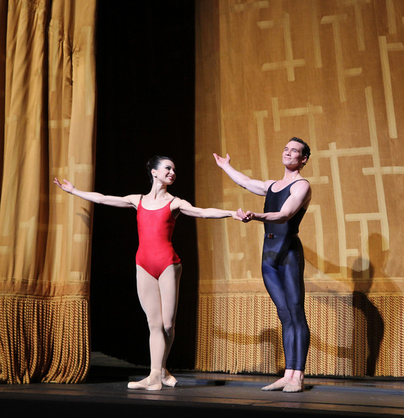 "Diana Vishneva and Cory Sterns, Shostakovich Trilogy, June 1, 2013<br /> <br /> Alexei Ratmansky's Shostakovich Trilogy is an exciting, complex, multifaceted work with never a dull moment. Trilogy premiered on Friday, May 31, 2013.  I saw the premier and the Saturday evening performance, which had the same cast. There is a lot going on in the three pieces and it would be difficult to take in all of the action with just one viewing.  I look forward to seeing it in future seasons as even two viewings is not enough to absorb all of the nuances in this fast-paced ballet. Ratmansky's stage is a busy one, with dancers constantly darting in and out of the action, with changing groups and combinations of dancers. <br /> <br /> The work consists of three seemingly unrelated pieces; if they are related, I missed the linkage. The first is Symphony #9, which premiered at City Center in October 2012. The scenery by George Tsypin consists of drawings of World War I-type airplanes, blimps, and  people, some carrying red flags. The two performances I saw featured Polina Semionova and Marcelo Gomes, Herman Cornejo, and Simone Messmer and Craig Salstein. Polina and Marcelo are a great pair and perfectly matched-I saw them in Symphony in C  earlier in the 2013 season. She is becoming one of my favorites at ABT. There are several lighter moments in their dancing with playful movements, demonstrating a sense of humor from Ratmansky. Herman is incredible; in one notable section he performs multiple entrechat six (six beats), each very clean with clear leg separation on the first two leg crossings (four beats), with an exaggerated separation on the last crossing. Very nice. He continues the beats while jumping to stage right and off the stage. Craig Salstein is very expressive and adds a slightly comedic touch. <br /> <br /> The second piece is Chamber Symphony and features David Hallberg-dressed in a jacket with no shirt-as a lost, tormented soul, desperately searching for something. He moves frenetically around the stage sometimes brushing his hair out of his eyes as he tries to connect with Isabella Boyston, Paloma Herrera, and Julie Kent. The program provides no guidance on the story. I talked to someone after the performance; he said that at a rehearsal, Hallberg's character was disclosed as Shostakovich and the three women represent his three wives. I checked Wikipedia and Shostakovich was married three times. The first marriage had difficulties and ended in divorce. The third marriage was to a much younger woman, ""her only defect is that she is 27 years old. In all other respects she is splendid: clever, cheerful, straightforward and very likeable."" I addition, he survived Stalin's Great Terror while many of his friends and relatives were imprisoned or killed. There are three male dancers dancing in harsh tones, possibly representing threats to Shostakovich from NKVD Soviet Police.<br /> <br /> I found the piece interesting, but wanted more background-who are these women and why is Hallberg's character so frantic and lost? What is he searching for? Not knowing much about Shostakovich, I was a bit lost without any context. Background information in the program such as the detail provided in the rehearsal would have been helpful. <br /> <br /> The third piece, Piano Concerto #1,  is my favorite and features two couples: Natalia Osipova and Ivan Vasiliev, and Diana Vishneva and Cory Stearns. The dancers' bodies are clearly on display as the males wore  unitards (costumes by Keso Deeker) with the females wearing red leotards. Cory and Ivan had greased, slicked-back hair (I didn't recognize Cory on Friday with that look). The scenery consisted of red objects hung in suspension. Some of the objects reminded me of the Soviet hammer and sickle. <br /> <br /> Plenty of non-stop action in this one with the four main dancers appearing in various combinations. Diana and Natalia danced well together and complement each other given their similar physiques. I particularly liked a spectacular double assemble diagonal from Ivan and Cory that drew much applause. Natalia had a grande jete diagonal section in which she seemed to fly. <br /> <br /> I loved the Trilogy and want to see it again in future seasons. I generally have a desire to see multiple casts, but was not disappointed to see the same cast in two consecutive nights given the high level of dancing. I couldn't see many empty seats on either night and the audience seemed to enjoy the performance. I guess that's why ABT wisely hired Ratmansky in the first place."