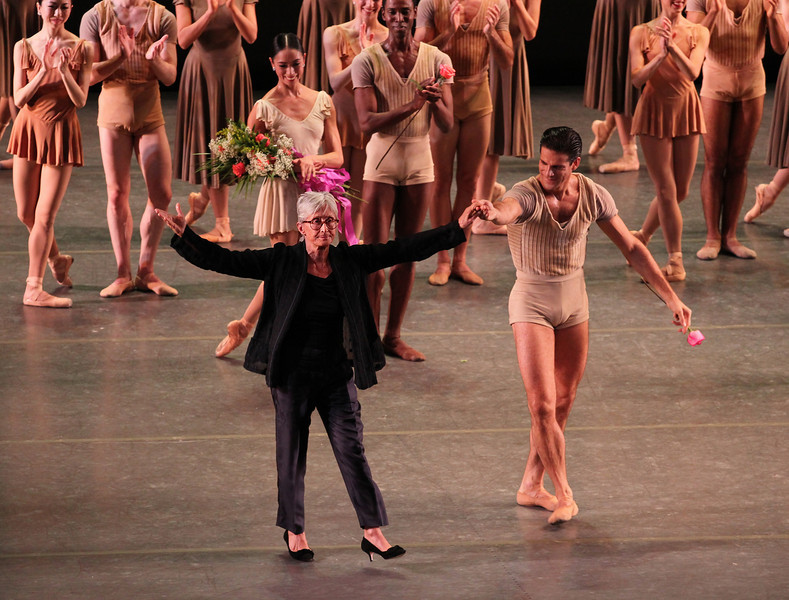 "Twyla Tharp and Marcelo Gomes, Bach Partita, November 1, 2013 <br><br> I enjoy the contrasts between the ABT fall and spring seasons. The spring season presents full-length classical ballets featuring a limited number of leading dancers providing the bulk of the dancing and dramatic action. By contrast, the fall season showcases a wider range of dancers and repertory. This diversity was on display Friday when ABT performed Les Sylphides, a Michel Fokine work from 1909 set in the Romantic era, and modern works Bach Partita and Gong by Twyla Tharp and Mark Morris, respectively. <br><br> Les Sylphides has no plot and consists of sylphs dancing in the moonlight with a man in white tights, with music that reminds me of Giselle. (Sylphs are mythological creatures in the Western tradition. The term originates in the work of Paracelsus, a Renaissance era physician and founder of the field of toxicology. He described sylphs as invisible beings of the air, which were his elementals of air, according to Wikipedia.) <br><br> The single male in the work is Thomas Forster a member of the Corps getting a shot at a principal role. He was attentive in his partnering of Isabella Boylston, Sarah Lane, and Hee Seo. However, at times during his solo, his upper body was tense, resulting in a slumped over upper body. Sarah Lane was my favorite in this work; the carriage of arms and upper body are key in this ballet and she pulled it off well with light, flowing, airy movements coupled with nice controlled arabesque turns. <br><br> Tharp created Bach Partita for ABT in 1983 and was last performed in 1985. The original cast consisted of Cynthia Gregory, Martine van Hamel, Magali Messac (alternating with Cynthia Harvey), Fernando Bujones, Clark Tippet and Robert La Fosse. <a href=""http://dancetabs.com/2013/10/bringing-twyla-tharps-bach-partita-back/"" rel=""nofollow"">Marina Harss of DanceTabs</a> explains another challenge of simply re-creating the steps: <br><br> ""There were two tapes of Partita. One, a recording of a rehearsal, was made before the ballet was complete, on a day when several dancers were unavailable. The other was a performance tape taken from the back of the cavernous Metropolitan Opera House. The tiny dancers were barely visible because of the brightness of the stage lights. In a painstaking process that lasted over a year, Jones went back and forth between the two, writing down every step in her own shorthand. The notes fill two binders. At a recent rehearsal, she flipped through the pages to confirm detail (""there, the heel is on the floor, not off""), and logistics (""hold her waist for the promenade""). Certain dancers, like the corps member Luciana Paris, seemed to pick up the nuances immediately, becoming the go-to person for everyone else. ""Did we do it like this or like this?"" someone would ask, and she would quickly sketch out the passage, while counting. Jones welcomed her input. In rehearsal she is unflappable, firm but kind."" <br><br> ABT performed the revival premier Friday. The piece is set to Bach's Partita in D minor, ""…a thirty-minute virtuoso showpiece for solo violin. It is considered one of the greatest works ever written for the instrument,"" according to Harsse. 25-year old Charles Yang was at the helm, standing on a raised platform, facing a monitor so he could see what the dancers were doing. I didn't see him looking at music sheets. Did he commit the entire 30-minute piece to memory? <br><br> The leads were Polina Semionova/James Whiteside, Gillian Murphy/Marcelo Gomes, and Stella Abrera/Calvin Royal III. The piece is indeed complicated, with the leads performing in short bursts to be replaced by other leads and cast members. Sometimes the leads would perform together, on their own, and with other cast members. Other cast members included Misty Copeland, Joseph Gorak, Luciana Paris, and Craig Salstein. <br><br> Gillian Murphy stood out, making full use of per prodigious turning skills. With Marcelo, her finger turns and supported turns seemed to last forever with the music her only limitation. Polina and Whiteside made a good pair. At one point, I thought that Polina grazed Whiteside's head with a long-reaching arabesque as he supported her. This may be an occupational hazard dancing with the limber and long-legged Polina. She is one of my favorites with her great line and expressiveness. I've only seen Whiteside once, as Ali the Slave in Le Corsair. He does have very quick, rapid turns and an aggressive style, although I am not completely sold on his dancing due to his unique mannerisms. Stella excelled at the rapid footwork and worked well with Calvin. They had an intricate and unique partnering section that drew a few gasps from the audience. Like Forster in Les Sylphides, Calvin is a Corps member and it is nice to see younger members getting top billing. His dancing was technically solid but not exciting, a trait that he will likely develop with seasoning. <br><br> The bows were emotional as Twyla and Jones made appearances on stage and exchanged hugs, along with the dancers and violinist Yang. I enjoyed this piece and, given all the work that went into the revival, it would be a shame to wait another 28 years to see it again. <br><br> Mark Morris's Gong, created for ABT in 2001, closed out the evening. This was the second Friday evening in two weeks that I've seen a Morris work-two weeks ago San Francisco Ballet performed Beaux. Gong, like Beaux, features brightly colored, humorous costumes by Isaac Mizrahi. <br><br> With my sweeping view of the stage from the second balcony, my brain tried to keep track of all of the combinations of dancers as they hurriedly entered and exited the stage, seeming to go somewhere. It seemed chaotic, but in an organized way, if that makes any sense. After several segments of loud, discordant music, the lights dimmed and a couple danced in silence to a dark stage lit by three side lights. I couldn't make out the dancers, but it was a unique touch. In another section, a front light highlighted the dancers' large shadows at the rear of the stage, a play on Indonesian shadow puppetry. Several sources suggest that Gong is influenced by Indonesian culture. Marcelo and Misty Copeland stood out in another darkly lit silent pas de deux which featured difficult multiple lifts from arabesque. Herman Cornejo made an appearance, with seven jazz-style pirouettes. <br><br> Gillian, Marcelo, Misty, Stella, and Whiteside earned their pay Friday as they were featured in both Bach Partita and Gong, both difficult and tiring works. <br><br> Gong was entertaining with comical costumes, varied dance patterns and themes, ranging from fast paced action set to loud music to slow pas de deux in silence to dim lighting. I look forward to seeing it again next Saturday evening, as this is a work that rewards multiple viewings."