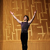 "Herman Cornejo, Shostakovich Trilogy, June 1, 2013<br /> <br /> Alexei Ratmansky's Shostakovich Trilogy is an exciting, complex, multifaceted work with never a dull moment. Trilogy premiered on Friday, May 31, 2013.  I saw the premier and the Saturday evening performance, which had the same cast. There is a lot going on in the three pieces and it would be difficult to take in all of the action with just one viewing.  I look forward to seeing it in future seasons as even two viewings is not enough to absorb all of the nuances in this fast-paced ballet. Ratmansky's stage is a busy one, with dancers constantly darting in and out of the action, with changing groups and combinations of dancers. <br /> <br /> The work consists of three seemingly unrelated pieces; if they are related, I missed the linkage. The first is Symphony #9, which premiered at City Center in October 2012. The scenery by George Tsypin consists of drawings of World War I-type airplanes, blimps, and  people, some carrying red flags. The two performances I saw featured Polina Semionova and Marcelo Gomes, Herman Cornejo, and Simone Messmer and Craig Salstein. Polina and Marcelo are a great pair and perfectly matched-I saw them in Symphony in C  earlier in the 2013 season. She is becoming one of my favorites at ABT. There are several lighter moments in their dancing with playful movements, demonstrating a sense of humor from Ratmansky. Herman is incredible; in one notable section he performs multiple entrechat six (six beats), each very clean with clear leg separation on the first two leg crossings (four beats), with an exaggerated separation on the last crossing. Very nice. He continues the beats while jumping to stage right and off the stage. Craig Salstein is very expressive and adds a slightly comedic touch. <br /> <br /> The second piece is Chamber Symphony and features David Hallberg-dressed in a jacket with no shirt-as a lost, tormented soul, desperately searching for something. He moves frenetically around the stage sometimes brushing his hair out of his eyes as he tries to connect with Isabella Boyston, Paloma Herrera, and Julie Kent. The program provides no guidance on the story. I talked to someone after the performance; he said that at a rehearsal, Hallberg's character was disclosed as Shostakovich and the three women represent his three wives. I checked Wikipedia and Shostakovich was married three times. The first marriage had difficulties and ended in divorce. The third marriage was to a much younger woman, ""her only defect is that she is 27 years old. In all other respects she is splendid: clever, cheerful, straightforward and very likeable."" I addition, he survived Stalin's Great Terror while many of his friends and relatives were imprisoned or killed. There are three male dancers dancing in harsh tones, possibly representing threats to Shostakovich from NKVD Soviet Police.<br /> <br /> I found the piece interesting, but wanted more background-who are these women and why is Hallberg's character so frantic and lost? What is he searching for? Not knowing much about Shostakovich, I was a bit lost without any context. Background information in the program such as the detail provided in the rehearsal would have been helpful. <br /> <br /> The third piece, Piano Concerto #1,  is my favorite and features two couples: Natalia Osipova and Ivan Vasiliev, and Diana Vishneva and Cory Stearns. The dancers' bodies are clearly on display as the males wore  unitards (costumes by Keso Deeker) with the females wearing red leotards. Cory and Ivan had greased, slicked-back hair (I didn't recognize Cory on Friday with that look). The scenery consisted of red objects hung in suspension. Some of the objects reminded me of the Soviet hammer and sickle. <br /> <br /> Plenty of non-stop action in this one with the four main dancers appearing in various combinations. Diana and Natalia danced well together and complement each other given their similar physiques. I particularly liked a spectacular double assemble diagonal from Ivan and Cory that drew much applause. Natalia had a grande jete diagonal section in which she seemed to fly. <br /> <br /> I loved the Trilogy and want to see it again in future seasons. I generally have a desire to see multiple casts, but was not disappointed to see the same cast in two consecutive nights given the high level of dancing. I couldn't see many empty seats on either night and the audience seemed to enjoy the performance. I guess that's why ABT wisely hired Ratmansky in the first place."
