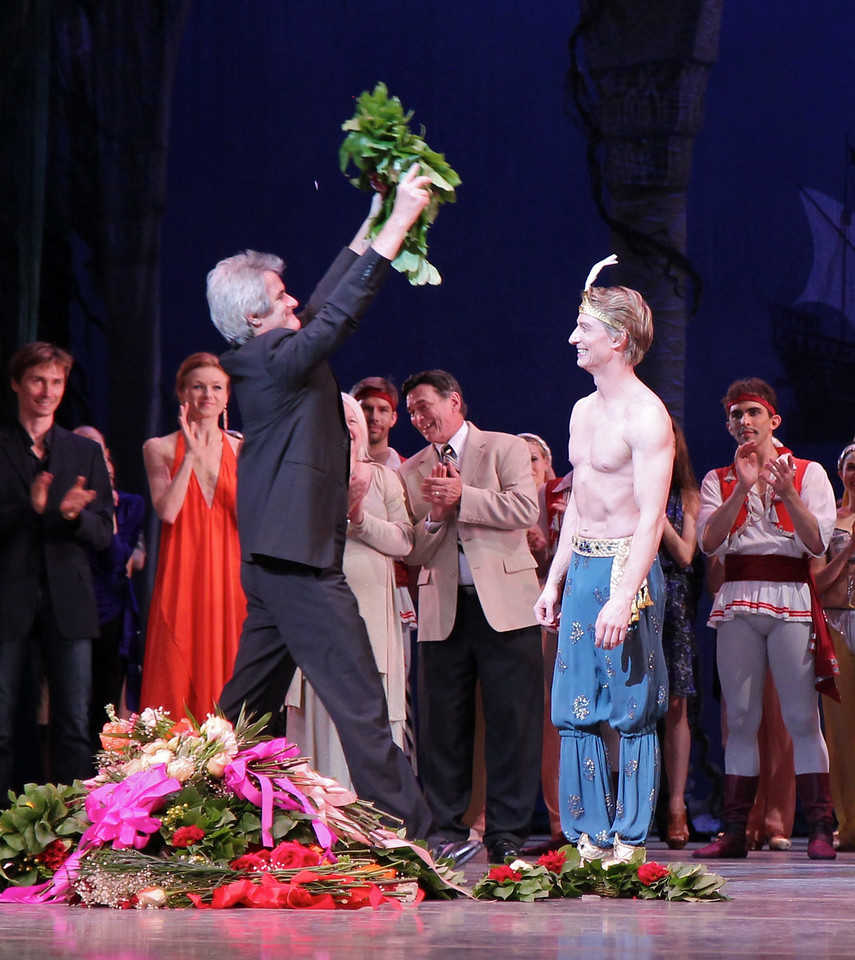 "Ethan Stiefel Final Performance, July 7, 2012 <br><br> Artistic Director Kevin McKenzie presents Ethan with a wreath. <br><br> Kevin McKenzie trained at the Washington School of Ballet and in 1972 was awarded a Silver medal at the Sixth International Competition in Varna, Bulgaria. He danced with both the National Ballet of Washington and The Joffrey Ballet before joining ABT as a Soloist in March 1979. He was appointed Principal Dancer later in the year and danced with ABT until 1991. He danced leading roles in all of the full length classics. He danced as a guest artist throughout the world and was appointed a permanent guest artist with The Washington Ballet in 1989. In 1991, he was appointed the position of Artistic Associate of that company. He has also acted as Associate Artistic Director of, and a choreographer with, Martine van Hamel's New Amsterdam Ballet.  <br><br> McKenzie was appointed Artistic Director of American Ballet Theatre in 1992. The New York Times has <a href=""http://www.nytimes.com/2012/06/17/arts/dance/american-ballet-theaters-director-kevin-mckenzie.html?pagewanted=all"">an interesting article</a> commemorating his 20 years in that role."