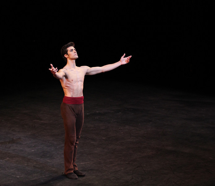 "Roberto Bolle, Arlesienne, September 17, 2013 <br><br> I knew that the Roberto Bolle and Friends Gala Tuesday at New York's City Center would be a popular event when I walked past the long line of people waiting in the ticket reserve line. Those waiting were not disappointed as the evening featured a diversity of dancing from Roberto and his friends, many from German ballet companies. The evening consisted of 11 unrelated pieces ranging from modern to classical, of which Roberto danced in four.  <br><br> The evening opened with a pas de deux from the full-length ballet Excelsior. I don't know much about the ballet; it is a tribute to the scientific and industrial progress of the 19th century, from the electric light to the telegraph, steam engine, and Suez Canal, according to Wikipedia. Roberto was in skimpy attire (basically a decorated dance belt) while Alina Somova from the Mariinsky Theatre wore a more traditional white ballet dress. The partnering section was fairly short followed by solos featuring fine, controlled jetés, sauté de basques, and coupe jetés from Roberto. Somova ha  a turn section consisting of single and double fouettés and she made it through the section. Well danced but not my favorite performance of the evening.  <br><br> Excelsior was followed by the Act I Romeo and Juliet pas de deux with Alicia Amatriain and Jason Reilly of the Stuttgart Ballet. It was clear that they have partnered together as young, star-crossed lovers in this Cranko (Stuttgart Ballet) version. Filled with emotion and brimming with excitement, the two lovers proclaimed their everlasting love.  <br><br> I've always liked Luciana Paris at American Ballet Theatre (ABT) and would like to see her dance more; happy to see that she is one of Roberto's friends, paired up with another favorite, Herman Cornejo in Twyla Tharp's Sinatra Suite. She always excels in this role at ABT along with another Tharp piece ""In the Upper Room."" Not sure why she does not get more exposure, but that is a topic for another day. Herman was dashing, debonair in a black tuxedo with Luciana in an elegant black gown as they danced to Sinatra favorites such as ""Strangers in the Night"" and ""My Way."" In ""Strangers in the Night,"" Herman tossed off his jacket with a look of indifference and defiance. In another section, he pulled off seven jazz turns effortlessly. In my favorite part, he danced in an intoxicated manner as Sinatra sings ""one more for the road."" Sinatra Suite was a great selection for the evening and the audience roared with approval. <br><br> Elisa Carrillo Cabrera and Mikhail Kaniskin of Staatsballet Berlin danced in Jeunehomme. This piece, choreographed by Uwe Scholz, was set to music by Mozart. This was a contemporary piece with the dancers are dressed in black. Cabrera and Kaniskin were precise in their intricate movements with Cabrera showing great extension. Their characters seemed frustrated as they were missing and longing for something. Near the end, he walked off the stage, and she was lost without him. He reappeared at the end and they embraced. I liked this piece with difficult partnering sequences, one of my favorites of the night.  <br><br> My least favorite was Le Grand Pas de Deux with Roberto and Alicia Amatriain of the Stuttgart Ballet. This was a silly, stupid, and a pointless comedy piece in which Amatriain walked down the aisle in the beginning on her way to the stage wearing glasses and toting a purse. Roberto was in a Nutcracker type costume. It was classical ballet interspersed with disco. In one section, Alicia completed a very good series of fouettés only to stagger around stage on the verge of vomiting while Roberto was working on a turn section in second position. Not sure why this was put in the program but some in the audience were amused. <br><br> Roberto and Erika Gaudenzi, listed in the program as a Young Italian Talent, Opera House, Rome, opened the second part of the evening with a dramatic pas de deux from L'Arlesienne. I am not familiar with the ballet so it was difficult to follow what was going on. He seemed disturbed about something and then removed his shirt. This was a recurring theme in the evening as the men more often than not were shirtless, showing off their toned bodies. Roberto danced a long introspective, wandering solo that was very well done.  <br><br> Kazimir's Colours with Elisa Carrillo Cabrera and Mikhail Kaniskin were next, set to music by Shostakovich. The music was particularly memorable and dramatic, set to this contemporary piece, with the dancers wearing gym attire.  <br><br> When I arrived, I immediately focused in eager anticipation of the Tchaikovsky Pas de Deux by Balanchine with Herman Cornejo and Maria Kochetkova of the San Francisco Ballet. Maria danced with Herman in Swan Lake and Sleeping Beauty, filling in for the injured Alina Cojocaru in the ABT spring season. They make a nice pair, as she is shorter than Herman and light as a feather. Notable parts were Herman's massive double cabriole derrière, high leaps, entrechat six, double assembles, and double tours to the knee. She was very fast in her spunky solo with a jumping arabesque on releve and very rapid turns and fouettés. She was a very proficient turner.  <br><br> Next was a very interesting modern piece, Mona Lisa with Alicia Amatriain and Jason Reilly opening with creaky doors and fog. (The last time I saw fog at City Center was for ABT's In the Upper Room. That evening,  a zealous stagehand in charge of dry ice pumped massive amounts of fog onto the stage, obscuring all of the dancers. After about 10 minutes with screaming from the audience, the curtain closed and the ballet was restarted after the fog lifted.) Rather than me describing it, take a look at this <a href=""http://www.youtube.com/watch?v=GlScLv2Tyz8"">Youtube clip.</a> A very entertaining 8 minutes.  <br><br> What would a gala be like without the Dying Swan, choreographed by Fokine? Alina Somova was the unfortunate swan, dancing in beautiful Russian form. <br><br> Last was Prototype, a solo for Roberto by Massimiliano Volpini.  A large video screen lined the back of the stage with computer-related images of a human body (ultimately Roberto's) and modern techno-type music. The screen then showed various high-tech images with Roberto interacting with the screen, dancing in unison with the images. At one point, the screen showed examples of ballet steps, which Roberto replicated. Off for a costume change into skin-colored trunks. The theme then turned to classical as he danced to Romeo and Juliet and Swan Lake. Off for another costume change into jeans and a jean jacket so he could dance with images of multiple Robertos on the screen. The interplay with Roberto and the images was unique, revealing his great technique and diversity. <br><br> Roberto was joined on stage by the dancers to a well-deserved rousing ovation by the appreciative, full-house crowd."