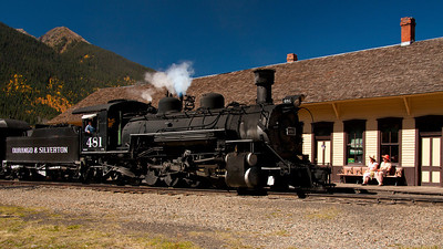 The old Durango & Silverton train pulling into the station at Silverton