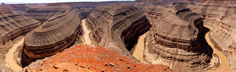 A Full Panorama of the Goosenecks of the San Juan River From the Overlook