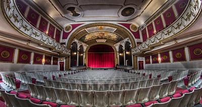 """Floor View of The Columbus Theatre's Proscenium"" - De-fisheyed version March 29th, 2011"