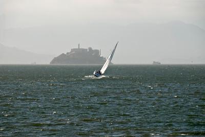 Alcatraz and Boats, on the San Francisco  Bay