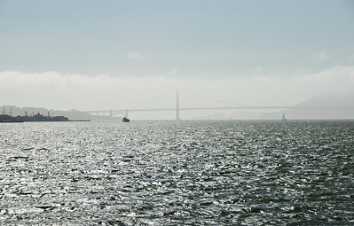 Golden Gate Bridge with approaching fog, late spring afternoon