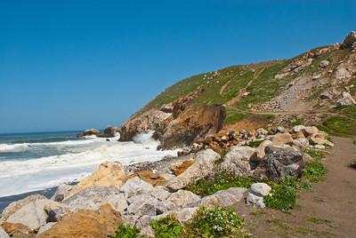 incoming tide, California coast