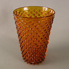 """First generation Hobbs, Brockunier & Co. Hobnail vase, mold blown with pontil, wear on bottom hobnails, 8"""", mint condition.<br /> <br /> <br /> <br /> <br />  <br /> <br />  <br /> <br /> <br /> <br />  <br /> First generation Hobbs, Brockunier & Co. Hobnail vase, mold blown with pontil, wear on bottom hobnails, deep amber, 8"""", mint condition. edit"""