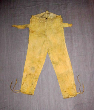 Ferdinand Christian Ruehrmund's leather pants, ca. 1840.  He emigrated from Germany to the U.S. in 1825, when he was 15, and had been an apprentice book binder.  His mother died on the voyage.  He settled in Caledonia, Morrow County, Ohio, and was married to Mary Loebrick, also a German immigrant, in 1849.  There is more genealogical information on him available.