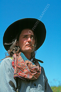 HR-ACB 00007 American cowboy historical reenactor with large hat and cigar by Peter J Mancus