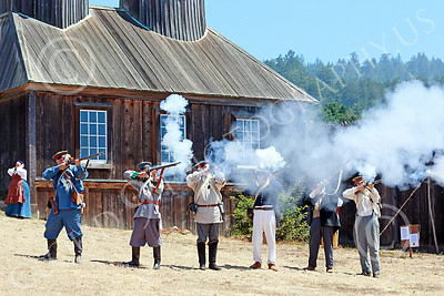HR-FtRossRUSS 00026 Russian civilian militia historical re-enactors fire their muskets at Ft Ross California historical re-enactor picture by Peter J Mancus