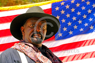 HR-USABS 00016 A superb big handsome Buffalo Soldier historical re-enactor before the work era US flag makes a powerful patriotic message, historical re-enactor picture by Peter J  Mancus