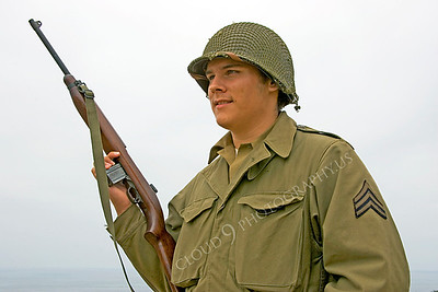 HR-USWWIIA 00018 A US World War II Army sergeant reenactor with carbine, by Peter J Mancus