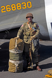 HR - USAWWIIP 00013 A US Army WWII era paratrooper historical reenactor by Peter J Mancus