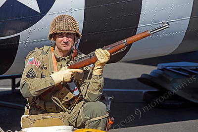 HR - USAWWIIP 00036 A US Army WWII era paratrooper historical reenactor by Peter J Mancus