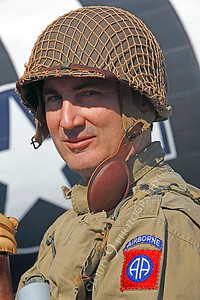 HR - USAWWIIP 00020 A US Army WWII era paratrooper historical reenactor by Peter J Mancus