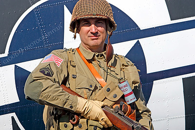 HR - USAWWIIP 00018 A US Army WWII era paratrooper historical reenactor by Peter J Mancus