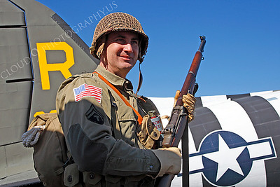 HR - USAWWIIP 00028 A US Army WWII era paratrooper historical reenactor by Peter J Mancus
