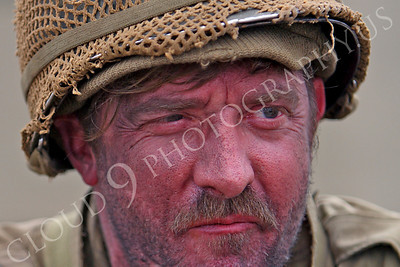 HR - USAWWIIP 00022 A bearded, weary, soiled, soldier re-enactor's eyes, by Peter J Mancus