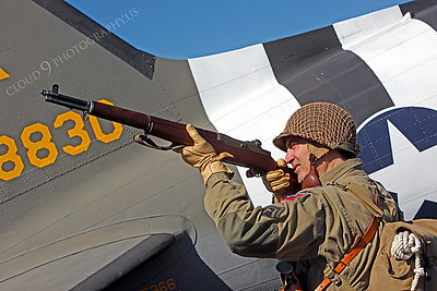 HR - USAWWIIP 00026 A US Army WWII era paratrooper historical reenactor by Peter J Mancus