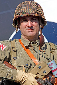 HR - USAWWIIP 00034 A US Army WWII era paratrooper historical reenactor by Peter J Mancus