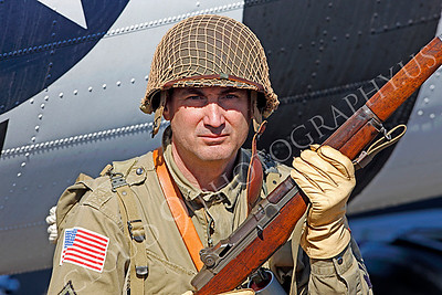 HR - USAWWIIP 00006 A US Army WWII era paratrooper historical reenactor by Peter J Mancus