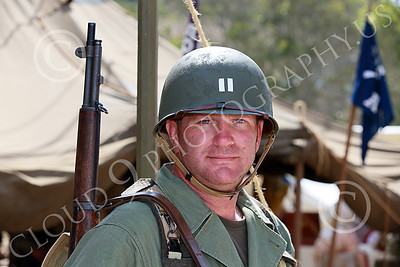 HR-USAWWIIP 00032 A US  Army WWII paratrooper officer armed with a M-1 Garand 30-06 semi-automatic rifle, historical re-enactor picture by Peter J Mancus