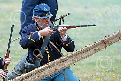 HR-ACWBS 00044 A Yankee soldier begins to draw a beam on a Reb target, historical re-enactor picture by Peter J Mancus