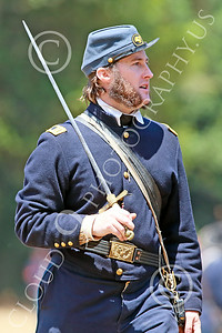 HR-ACWBS 00007 A sideburned Yankee officer with drawn sword on the battle line, historical re-enactor picture by Peter J Mancus