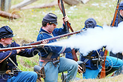 HR-ACWBS 00014 Camera captured a Yankee's musket's yellow core blast, historical re-enactor picture by Peter J Mancus