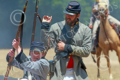 HR-ACWBS 00010 A Reb officer unslings his musket as a battle begins, historical re-enactor picture by Peter J Mancus