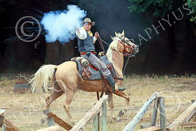 HR-ACWBS 00034 A mounted Reb calvaryman fires his pistol at Yankees during a battle, historical re-enactor picture by Peter J Mancus