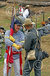 HR-ACWBS 00021 Reb warriors shake hands during a lull in battle, historical re-enactor picture by Peter J Mancus