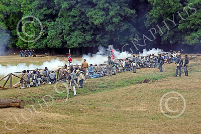 HR-ACWBS 00008 A Reb line of infantry fires upon Yankees, historical re-enactor picture by Peter J Mancus