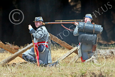 HR-ACWBS 00020 A Reb sniper with a long scope takes aim during a battle, historical re-enactor picture by Peter J Mancus