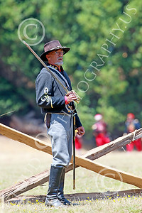 HR-ACWBS 00003 A lone Reb general with drawn sword looks for his troops with colorfully dressed Yankees behind him, historical re-enactor picture by Peter J Mancus