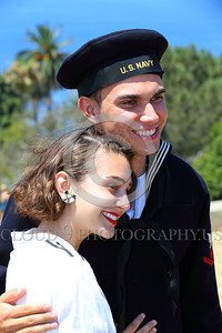 HR-WWIIUSN 00010 Ready to face the world--a young US Navy World War II era sailor historical re-enactor in love with his girlfriend, by Peter J Mancus