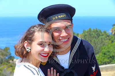 HR-WWIIUSN 00020 A happy US Navy WWII era historical re-enactor sailor with his girlfriend by Peter J Mancus