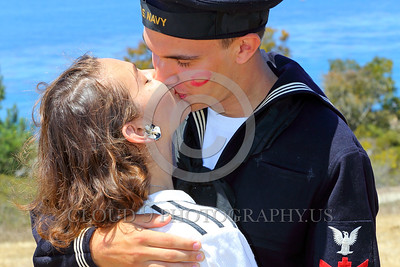 HR-WWIIUSN 00019 A happy US Navy WWII era historical re-enactor sailor kisses his girl, by Peter J Mancus