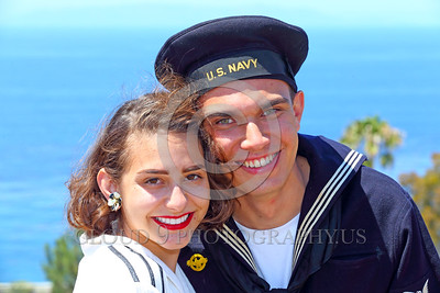 HR-WWIIUSN 00002 A smiling happy young US Navy World War II era sailor historical re-enactor with his lovely girlfriend by Peter J Mancus