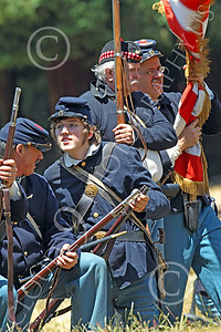 HR-ACWY 00009 American civil war Yankee soldier historical reenactors relax before a simulated battle, by Peter J Mancus