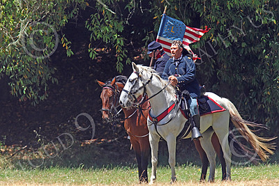 HR-ACWY 00032 Two mounted American civil war Yankee cavalrymen, one holding a flag, by Peter J Mancus