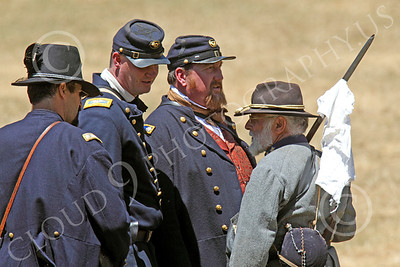HR-ACWY 00018 An American civil war Confederate officer holding a white flag tries to negotiate something with Yankee officers, by Peter J Mancus