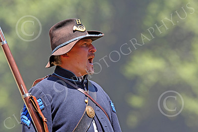 HR-ACWY 00026 An American civil war Yankee sergeant historical reenactor yells a command, by Peter J Mancus